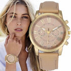 HOT Geneva Women Girl Roman Numerals Faux Leather Band Analog Quartz Wrist Watch