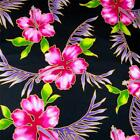 Hawaiian Print by Hoffman, Vivid Pink Kokio on Black Cotton Fabric Per Yd