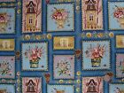 3 YDS Victorian Mansion Houses Flowers Ro Gregg Cotton Quilting Fabric Northcott