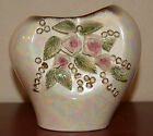 Shabby Cottage Chic Vintage Lusterware Iridescent Floral Vase