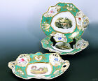 3 Antique English Countryside Green Gilded Handpainted Porcelain Plates 10