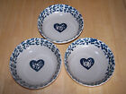 Tienshan Folk Craft HEARTS Blue Sponge Set of 6 Bowls 6 in