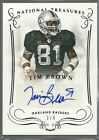 TIM BROWN AUTO #1 4 SIGNATURES 2014 NATIONAL TREASURES AUTOGRAPH RAIDERS