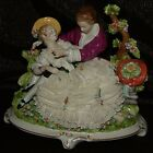 ANTIQUE EARLY 19 C.DRESDEN UNTER WEISS BACH PORCELAIN LACE GROUP FIGURINE MARKED