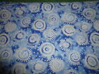 Cotton Fabric White Novelty Circles Dots on Blue Mottled  2 YD31