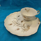 c. 1949-55 LEFTON GOLD WHEAT LUNCHEON TEA CUP & DISH SNACK PLATE CHINA SET 2768