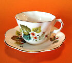 Lefton Bone China Cup & Saucer, England, Orange Blossoms With Moss Green Leaves