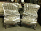 PAIR OF QUEEN ANNE FLORAL PRINT WING BACK CHAIRS W/ MAHOGANY WOOD