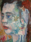 Listed artist Russell Christoffersen oil painting self portrait 1980 devil child