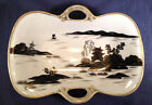 NIPPON Hand Painted Black & White & Gold Handled Dish, Noritake Morimura Japan