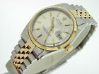 Mens Two-Tone 18k Yellow Gold/Stainless Steel Rolex Datejust Date Watch Silver