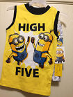 Despicable Me Boys 2 Piece Sleepwear Set Minion Covered Size 4-10 Pajamas NEW