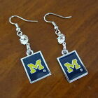 University of MICHIGAN WOLVERINES RHINESTONE  ENAMEL EARRINGS game day jewelry