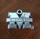 University of Michigan Wolverines M PEWTER SILVER CHARM bead bracelet jewelry