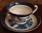 4 Blue/White Willow Gold-Rimmed Cups & Saucers - Ironstone Ware (Occupied Japan)