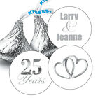 108 Silver 25th Wedding Anniversary Personalized Hershey Kiss Stickers Favors
