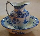 Kang-Hi Wood and & Sons England Water Pitcher and Bowl Steely Flow Blue Oriental
