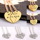 Best Bitches Forever Chain Pendant Necklace Gifts BFF Broken Heart Best Friends