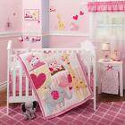 Jungle Animals Owls, Giraffe & Elephant Baby Girls Nursery 4 Pc Crib Bedding Set