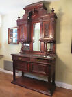 Elegant Carved Victorian Hutch China Cabinet Buffet Marble Top Mirrors PHOENIX
