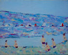 Mystery French painting 1980's Impressionist Beach Scene Oil Canvas