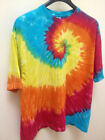 Plus Size 2XL Tie Dye T Shirt Spiral Rainbow Vibrant Short Sleeve Top Hippie