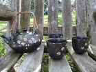 Brown White Flower Stoneware Pottery Floral Teapot with 3 Cups Saki Cup Set