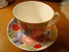 Vintage J. PETERMAN Tea Cup & Saucer Made in England FINE BONE CHINA Extra Large