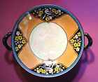 Noritake Compote With Handles - Hand Painted,  Birds & Yellow Flowers, Blue Rim