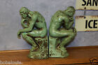 The Thinker art deco nude Metal Bookends GREAT GREEN Ronson? Frankart? HEAVY!