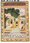 VINTAGE INDIAN AWADH MINIATURE PAINTING OF PRINCESS DOING WORSHIP OF LORD SHIVA