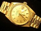 Mens Rolex Datejust 18k Yellow Gold Watch w/Gold Dial 1601