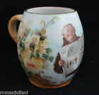 AK France Monk Newspaper Mug Stein Hand Painted Roses Limoges Wine Beer Tankard