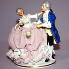 Antique SANDIZELL LACE W. GERMANY DRESDEN Porcelain Figurine MAN WOMAN DANCING