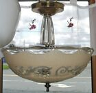 Antique 1930's 40's Art Deco Ceiling Light Fixture Chandelier Glass Floral