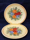 Lot of 2 Vintage Italy HH Ceramic Salad Plates Orange With Flowers some chip