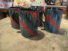 Fitz and Floyd BARGELLO COFFEE MUGS  Porcelain SET 4