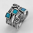 New Shablool Ring With Opal Blue Sterling Silver Women's