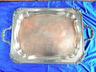 Vintage Large Silverplate on Copper Ornate Footed Serving Tray Unknown Maker