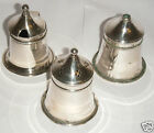 Antique Victorian Silver Plate Cruet Set - Salt Pepper & Mustard- Glass Liners