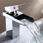 Chrome Polished Brushed Waterfall Faucet Brass Bathroom Basin Sink Mixer Tap