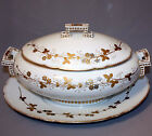 Antique WILHELM & GRAEF LARGE TUREEN & UNDERPLATE Gold Silver FLOWERS BUTTERFLY