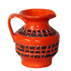 Vintage Orange Italian Art Pottery Carved Pitcher Vase Raymor Capron Style