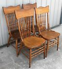 1900-10 SOLID OAK TALL PRESSED BACK SADDLE SEAT DINING ROOM CHAIRS
