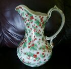 Strawberries galore! Large pitcher/ White with gold trim