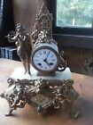 Beautiful antique 1889 French Metal Statue Mantel Clock Man Playing Flute