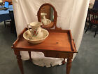 ANTIQUE REPRODUCTION COMMODE, NIGHT WASH STAND VANITY WITH MIRROR AND TOWEL BARS