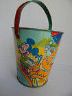 VINTAGE TIN WALT DISNEY J.CHEIN SAND PAIL WITH MICKEY MOUSE, D.DUCK GOOFY,PLUTO