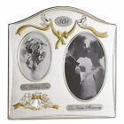 50th Silver Wedding Anniversary Golden Plated Double Picture Photo Frame Gift