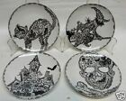 222 FIFTH WICCAN LACE SET OF 4 ROUND APPETIZER PLATES HALLOWEEN BRAND NEW